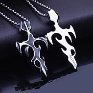 Jóias Masculinas presente personalizado de aço Titanium chama em forma de colar de pingente gravado com 60 centímetros Cadeia