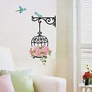 お買い得  ホーム&オフィスガジェット-鳥かごの花の壁のステッカー取り外し可能な家の装飾の子供の部屋のためのpvc