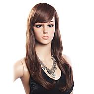 Mujer Pelo humano pelucas sin tapa Densidad Con flequillo Peluca Largo Parte lateral