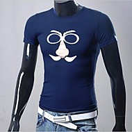 t-shirt em torno do pescoço de impressão de manga curta magro dos homens (cor de impressão aleatória)