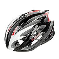 저렴한 -FJQXZ 일체형 성형 EPS + PC 빨간색과 흰색 자전거 헬멧 (21 통풍구)