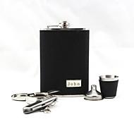 billiga Personliga dricksglas-personlig gravyr svart läder 9-oz 5 delars set gåva