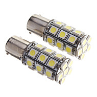 2PCS BAY15D 1156 27 SMD 5050 LED Car Staart Stop Brake richtingaanwijzer Wit 12V