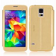 Varten Samsung Galaxy kotelo Tuella / Ikkunalla / Flip Etui Kokonaan peittävä Etui Yksivärinen Tekonahka Samsung S5