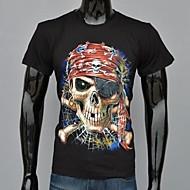 Masculino Camiseta Algodão Estampado Manga Curta Casual / Esporte-Preto