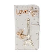 Varten LG kotelo Lomapkko / Korttikotelo / Paljetti / Tuella / Flip Etui Kokonaan peittävä Etui Eiffelin torni Kova Tekonahka LG