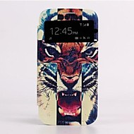 For Samsung Galaxy Case with Windows / Auto Sleep/Wake / Flip / Pattern Case Full Body Case Animal PU Leather Samsung S4