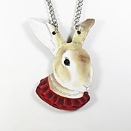 Rabbit Pattern Wood Necklace
