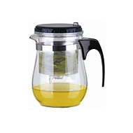 abordables Liquidación-Fácil Push Button Colador Glass Tea Pot Con Lock (500 ml)