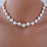 hesapli Mücevher&Saatler-Iplikçik kolye - İmitasyon İnci Beyaz Kolyeler Mücevher Uyumluluk Düğün, Parti, Günlük