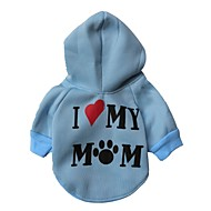 Cat Dog Hoodie Dog Clothes Letter & Number White Gray Red Blue Pink Costume For Pets