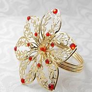 λουλούδια με έξι πέταλα δαχτυλίδι πετσέτα, ακρυλικό beades, 4,5 εκατοστά, σετ των 12