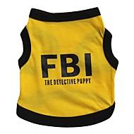 お買い得  -ネコ 犬 Tシャツ ジャージー 犬用ウェア 文字&番号 警察/軍隊 ブラック/イエロー コットン コスチューム ペット用