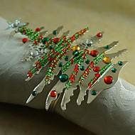 πολύχρωμες χριστουγεννιάτικο δέντρο δαχτυλίδι πετσέτα πολλά χρώματα, ακρυλικό, 4,5 εκατοστά, σετ των 12