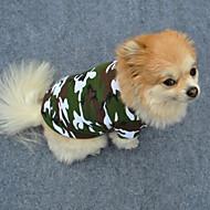 Недорогие Товары для дома и питомцев-Собака Футболка Одежда для собак камуфляж Зеленый Хлопок Костюм Для домашних животных Муж. Жен. Мода