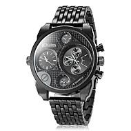 저렴한 -Oulm 남성용 밀리터리 시계 손목 시계 석영 일본 쿼츠 듀얼 타임 존 스테인레스 스틸 밴드 사치 블랙 브라운 브론즈