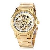 Недорогие Фирменные часы-WINNER Муж. Наручные часы / Механические часы С гравировкой Нержавеющая сталь Группа Роскошь / Бабочка Золотистый / С автоподзаводом