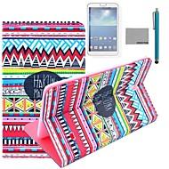 Коко fun® красный племенной узор ковра Дело PU кожаный флип стенд с пленкой и стилусом для Samsung вкладке галактики 4 T330