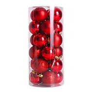 abordables Artículos para Celebración-24pcs bola ornamento de navidad (color clasificado) 4cm nochi bolas de navidad de pelota de luz de la bola de Navidad plateado