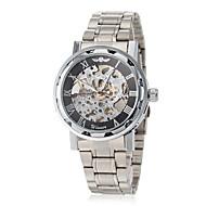 Недорогие Фирменные часы-WINNER Муж. Наручные часы / Механические часы С гравировкой Нержавеющая сталь Группа Бабочка Серебристый металл / Механические, с ручным заводом