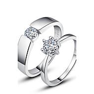 presente personalizado simples de 925 prata esterlina anéis casais