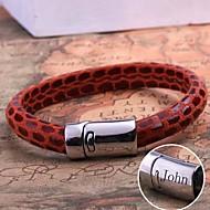 tanie Personalizowane dodatki do odzieży-spersonalizowany prezent pasek ze skóry liny biżuteria ze stali nierdzewnej grawerowane