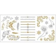#(1) Mintás - Totem sorozat - #(20x10x0.2) - Papír - Arany - Minta - Női/Girl/Felnőtt/Tini - Tetkó matricák