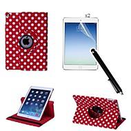 polka dot pu lederen full body case met touch pen en beschermende folie 2 stuks voor iPad 2 lucht / ipad 6