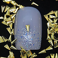 100PCS 삼각형 황금 금속 리벳 네일 아트 장식