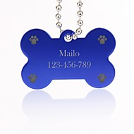 Personalized Gift Bone Shape Silver Pet Id Name Tag with Chain for Dogs