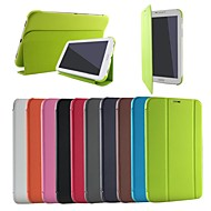 Varten Samsung Galaxy kotelo Tuella / Flip / Origami Etui Kokonaan peittävä Etui Yksivärinen Tekonahka Samsung Tab 3 Lite
