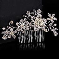 Vintage Wedding Bride Flower Austria Rhinestone Pearl Flower Silver Combs Hair Accessories