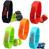 Damskie Sportowy Zegarek na nadgarstek Zegarek na bransoletce Na codzień Zegarek cyfrowy Cyfrowe LED Silikon Pasmo Słodycze Czarny Biały