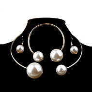 cheap Jewelry & Watches-Women's Pearl Jewelry Set - Pearl, Imitation Pearl Ball Fashion, Elegant, Bridal Include Silver / Golden For Wedding Party Birthday / Earrings / Necklace / Oversized