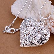 Damen Hohl Anhängerketten - S925 Sterling Silber Herz, Liebe Modisch Silber 45 cm Modische Halsketten Schmuck 1pc Für Hochzeit, Party, Alltag