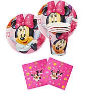56pcs Minnie Mouse Baby-Geburtstagspartydekorationen Kinder evnent Partei liefert Parteidekoration 18 Personen nutzen
