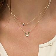 voordelige Gelaagde kettingen-Dames Vorm Initial Jewelry Modieus Dubbele laag gelaagde Kettingen Gesimuleerde diamant Legering gelaagde Kettingen Speciale