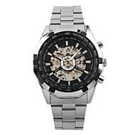 저렴한 -WINNER 남성용 드레스 시계 손목 시계 기계식 시계 오토메틱 셀프-윈딩 중공 판화 스테인레스 스틸 밴드 사치 빈티지 캐쥬얼 멋진 실버