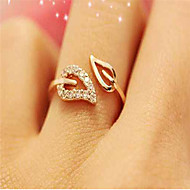 cheap Jewelry & Watches-Women's Open Cuff Ring / Adjustable Ring - Cubic Zirconia, Rhinestone, Gold Plated Leaf Simple, Basic, Fashion Adjustable Gold / Silver For Daily Wear / Date / Alloy