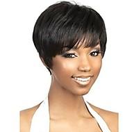 Недорогие Искусственные накладки и пряди-шапки черный экстра короткие высокое качество естественная прямая синтетический парик