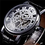abordables Winner-WINNER Hombre Reloj de Pulsera / El reloj mecánico Huecograbado PU Banda Negro / Cuerda Manual