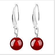 Women's Agate Drop Earrings - Sterling Silver Ladies Jewelry Black / Red For Wedding Party Daily Casual