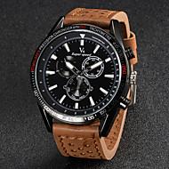 Недорогие Фирменные часы-V6 Муж. Кварцевый Японский кварц Наручные часы Повседневные часы Кожа Группа Кулоны Черный Коричневый Хаки