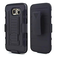 cheap Cases / Covers for Samsung-Case For Samsung Galaxy Samsung Galaxy Case Shockproof with Stand Back Cover Armor PC for S6 edge S6 S5 S4 S3