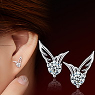 Women's Stud Earrings - Sterling Silver, Stainless Steel Angel Wings Silver For Daily / Casual / Sports
