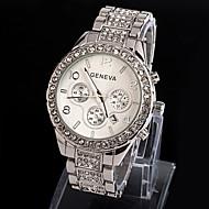 お買い得  -Geneva 女性用 リストウォッチ 模造ダイヤモンド 合金 バンド 光沢タイプ / ファッション シルバー / ゴールド / 1年間 / SSUO 377