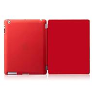 Para Hibernação/Ligar Automático / Magnética Capinha Corpo Inteiro Capinha Cor Única Rígida Couro PU Apple iPad 4/3/2