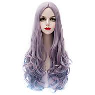 olcso Szintetikus parókák-Szintetikus haj paróka Hullámos Sapka nélküli Carnival Paróka Halloween paróka Nagyon hosszú Bíbor