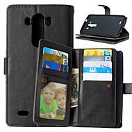 Mert LG tok Kártyatartó / Pénztárca / Állvánnyal / Flip Case Teljes védelem Case Egyszínű Kemény Műbőr mert LGLG K10 / LG K8 / LG K7 / LG