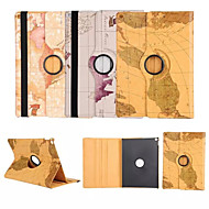 verdenskart 360⁰ case design stativ i høy kvalitet pu skinnpose for ipad 4/3/2